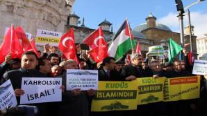 ABD'nin Kudüs kararı Yozgat'ta Cuma namazı çıkışı protesto edildi