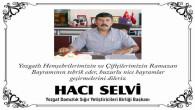 Yozgat Damızlık Sığır Yetiştiricileri Birliği Başkanı Selvi'den bayram mesajı