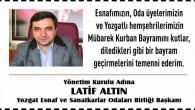 Yozgat ESOB Başkanı Altın, Yozgat halkının bayramını kutladı