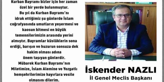 Yozgat İl Genel Meclis Başkanı Nazlı Yozgat halkının bayramını kutladı