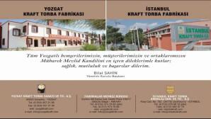 Yozgat Kraft Torba Yönetim Kurulu Başkanı Bilal Şahin Yozgat halkının Kandilini kutladı