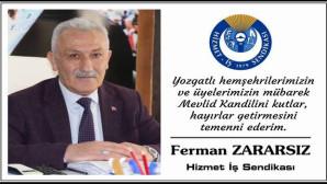 Hizmet İş Sendikası Başkanı Zararsız Yozgat halkının kandilini kutladı