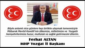 MHP Yozgat İl Başkanı Altan Yozgat halkının Kandilini kutladı
