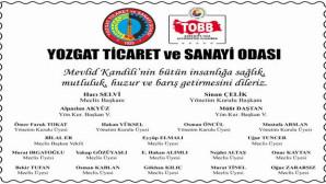 Yozgat TSO Başkanı Çelik ve Yönetim Kurulu Kandil mesajı