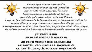 AK Parti Yozgat İl Teşkilatı Yozgat halkının kandilini kutladı