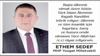 MHP Milletvekili Sedef, Yozgat halkının kandilini kutladı