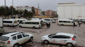 Servis araçları dezenfekte edildi