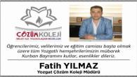 Çözüm Koleji Müdürü Yılmaz, Yozgat halkının bayramını kutladı