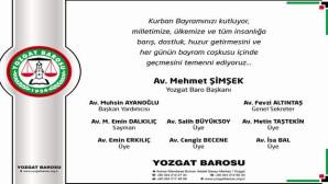 Yozgat Baro Başkanı Şimşek'ten bayram mesajı