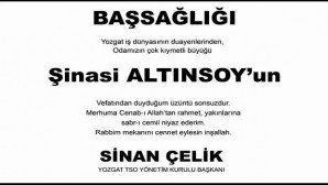Yozgat TSO'dan başsağlığı mesajı