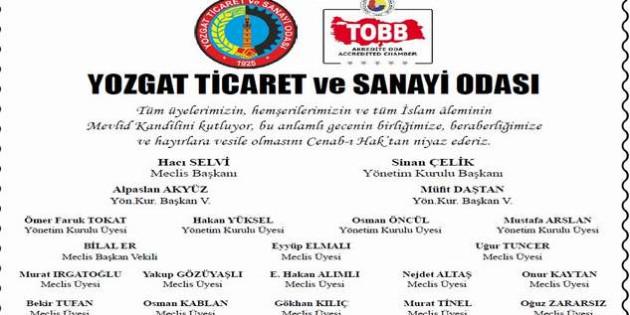 TSO Başkanı Sinan Çelik ve Yönetiminden kandil mesajı