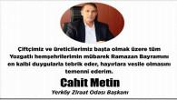 Yerköy Ziraat Odası Başkanı Metin çiftçilerin ve üreticilerin bayramını kutladı