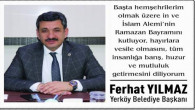 Yerköy Belediye Başkanı Yılmaz'dan Bayram mesajı