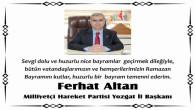 MHP İl Başkanı Altan, Yozgat halkının bayramını kutladı