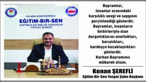 Eğitim Bir Sen Yozgat Şube Başkanı Şerefli, Yozgat halkının bayramını kutladı