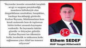 MHP Yozgat Milletvekili Ethem Sedef Yozgat halkının bayramını kutladı