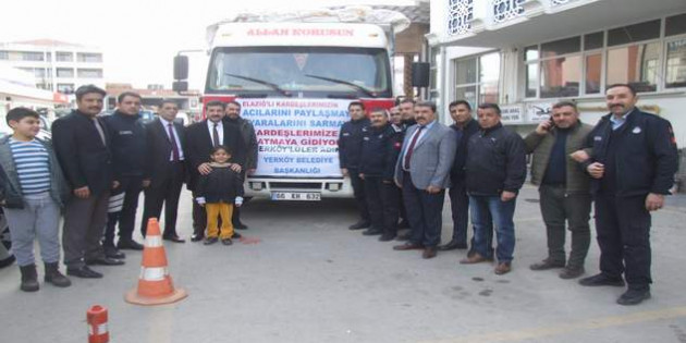 Yerköy'den Elazığ'a bir kamyon yardım malzemesi gönderildi