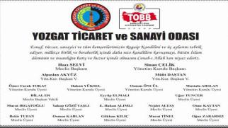 Yozgat TSO Başkanı Çelik ve Yönetim Kurulu üyeleri Yozgat halkının kandilini kutladı