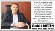 Yerköy Ziraat Odası Başkanı Cahit Metin'den kandil mesajı