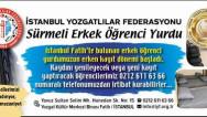 İstanbul Yozgatlılar Federasyonu Sürmeli Erkek Öğrenci Yurdu kayıt dönemi başladı