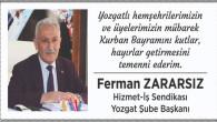 Zararsız, Yozgat halkının bayramını kutladı