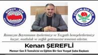 Memur Sen Yozgat Şube Başkanı Şerefli Yozgat halkının bayramını kutladı